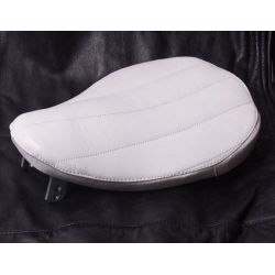 Bates Style Tuck and Roll White Leather Solo Seat