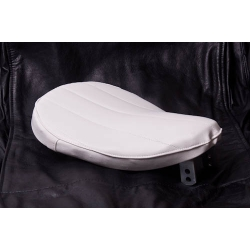 Bates Style Tuck and Roll White Vinyl Solo Seat